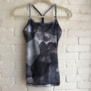Lululemon gray tie dye tank top self bra Y size 4